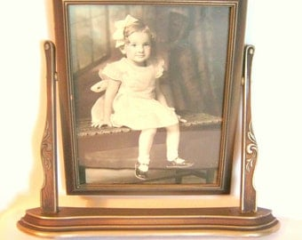 Art Deco SWING FRAME with Hand Painted Sepia Child PHOTOGRAPH