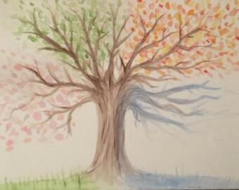 Four seasons tree painting