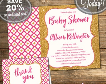 Girl Baby Shower Invitation, Thank You Card, Baby Girl, Pink and Gold Glitter, Printable File (INSTANT Download)