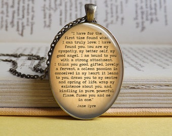 Silver or bronze 'I have for the first time' quote vintage style glass dome necklace (Jane Eyre, Charlotte Bronte, literature, book)