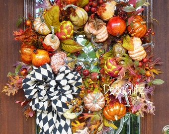 GRAPEVINE FALL or THANKSGIVING Foliage, Pumpkins and Harlequin Bow Wreath