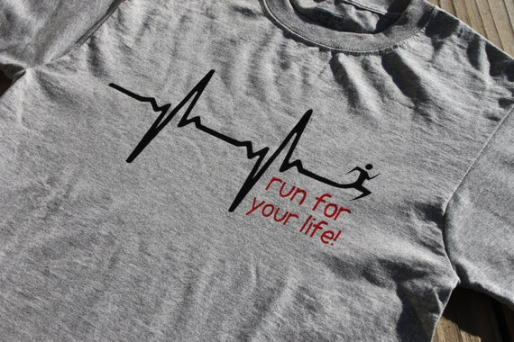 run for your life! - t-shirt, heather grey, white, cotton poly