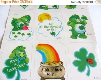 ON SALE Vintage AGC Care Bears St Patricks Day Sticker Sheet - 80's Clover Retro Child Toy Scrapbook Cartoon Bear Rainbow Sun eddy