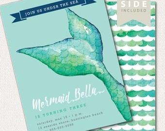 Mermaid Invitation Birthday, Mermaid Pool Party Invite, Under the Sea, Mermaid Tail, 1st Birthday Invite, Girl Birthday Invitation