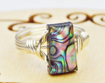 Trapezoid Abalone Ring -Sterling Silver, Yellow or Rose Gold Filled Wire Wrapped with Shell Bead - Size 4, 5, 6, 7, 8, 9, 10, 11, 12, 13, 14