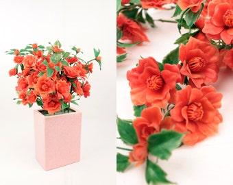 vintage plastic flowers // orange // 9pc