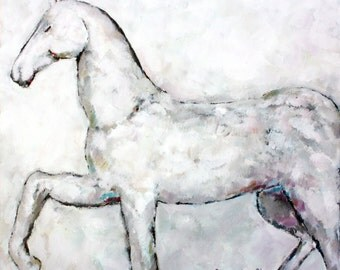 Original oil painting GREY HORSE home decoration small wall art