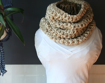 Crochet Cowl,Cowl Scarf,Knit Cowl,Loop Scarf,Chunky Knit,Crochet Scarf,Knit Scarf,Neck Scarf,Neck Warmer,Neck wrap,Cream,White,Tan,Gift