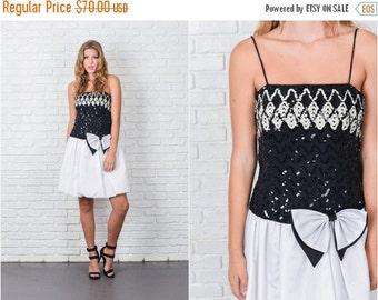 ON SALE Vintage 80s Black + White Color Block Dress Bow Sequin Party Mini Small S 7794 vintage dress 80s dress black dress white dress mini