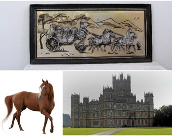 3D Antique Carriage Picture, Victorian Country Home Decor, Downton Style Carriage and Horses, 1920 English Cottage Wall Decorating Ideas