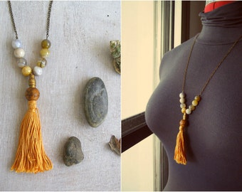Orange Tassel Necklace, Agate Gemstone Long Layer Boho Beaded Necklace, Hip Strand Necklace, Modern Trendy Jewelry, Earthy Colors, Silk Road
