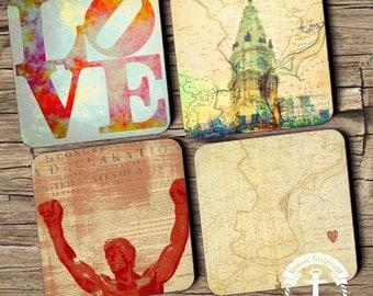 Coaster Set | Philly   | Philadelphia Landmarks and Maps Style | Set of 4 Cork Back | Options at Checkout