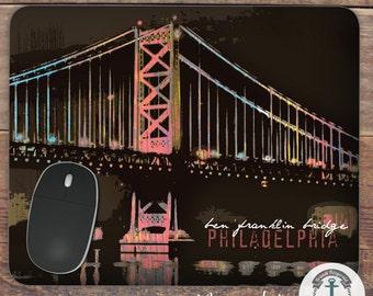 Mousepad: Philadelphia Ben Franklin Bridge Handmade in USA Office Accessory