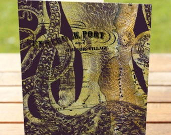 Octopus Greeting Card   Kennebunkport Maine Vintage Map   A7 5x7 Folded - Blank Inside - Wholesale Available