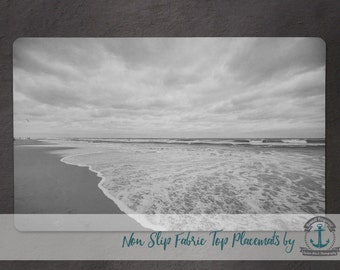 Placemat - Ocean Tide | B/W Nautical Beach House Decor | Anti Skid/Non Slip Fabric Top Rubber Backed Awesomeness