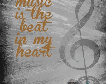 Music, The Beat and My Heart Music Note Lyrics Product Options and Pricing via Dropdown Menu