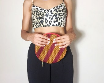 Circle African Ankara Fabric Bag