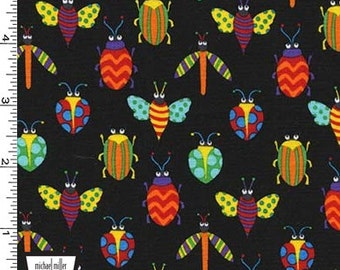 Pesky Bugs on Black From Michael Miller's Creepy Crawlies Collection