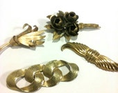 Antique, Vintage, Gold, Brass Tone Brooches, Pins, Lot of 4