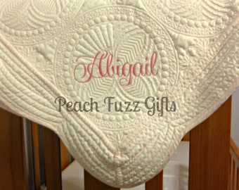 Monogram Baby Blanket, Personalized Baby Quilt, Baby Shower Gift, Monogrammed Baby Gift