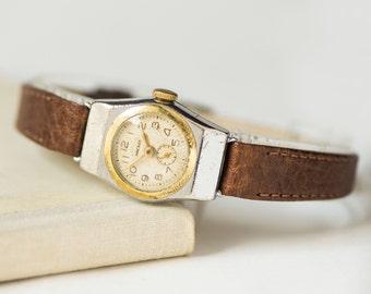 Mid century ladies watch Zvezda/Star, lady watch rare silver gold shades, women's watch gift, 50s fashion watch, premium leather strap new