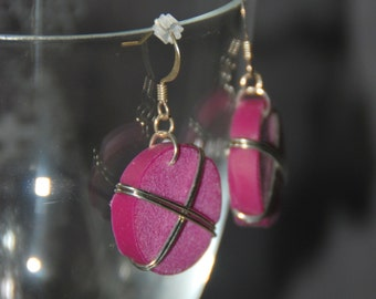 Purple Wire Wrapped Wine Cork Earrings
