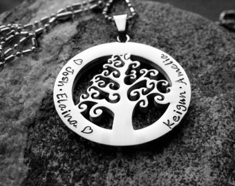 Name necklace, Family Tree Necklace, Mother's Necklace, Personalized Necklace, Family Necklace, Grandmother's Necklace, Stainless Steel
