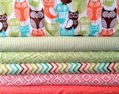 Fat Quarter Fabric bundle for quilt or craft Michael Miller Swedish Owls bundle 6 Fat Quarters
