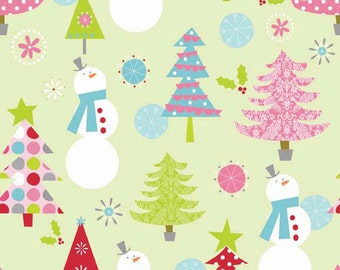 Riley Blake Christmas Fabric by the yard Snowman and Christmas Tree fabric in Lime 1 yard