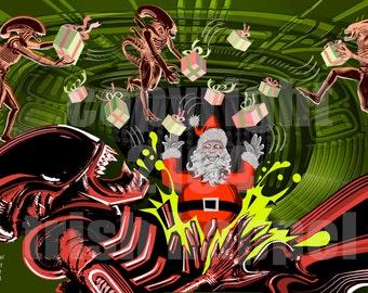 Alien bursting with Santa's Joy
