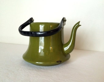Olive Green Enamel Tea Pot Vintage Enamelware Planter Garden Decor Japanese Enamelware