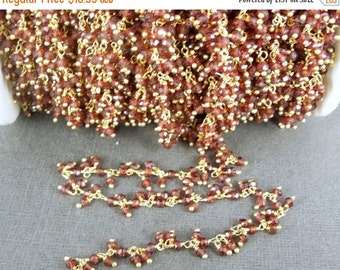 35% off Wholesale Garnet Dangling Wire Wrapped Beaded Gold Layered Rosary Style Chain - By FOOT (CHN-197)