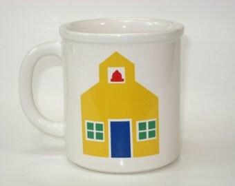 Vintage Marimekko Oy School Mug Schoolhouse Coffee Cup  - Pfaltzgraff USA