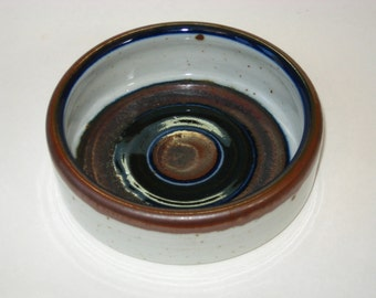 Arabia Finland WELLAMO Dessert Ice Cream Cereal Bowl - Mid Century Danish Modern w/ Blue & Brown Bands - Peter Winqvist