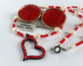 Ruby Heart & Pearl Necklace, Vintage Red Enamel Post Earrings