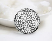 Handmade Round Flower Photo Glass Cabochons (P3654)