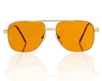 Redford Gold Aviator Sunglasses - Amber Lens X American Deadstock