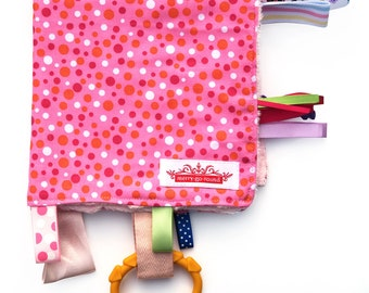 Taggy Snuggly Tag Toy Mini Blankie Comforter  - Dots & Spots on Pink - BABY GIFT Idea .  Made in Australia