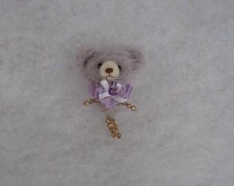 Bear brooch  Mohair bear brooch  Bear brooch with Swarovski crystals Hand made brooch Grey purple bear brooch Mini bear