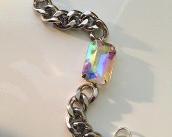 Aurora Borealis Gem silver chain bracelet