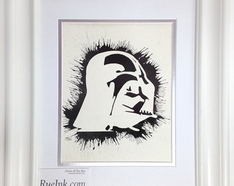 Darth Vader Silhouette Original Watercolor Splatter Art