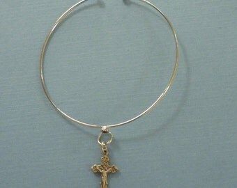 Silver Bangle Bracelet with Sterling Silver Crucifix - Religious Charm Bracelet - Catholic Religious Jewelry