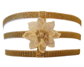 Estrella sparkly gold elastic triple-strap leg garter with embroidered flower