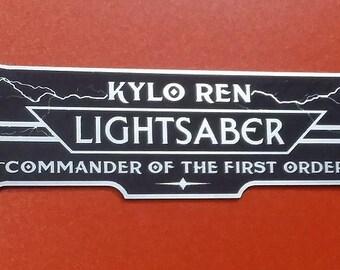 Custom KYLO REN LIGHTSABER Display Plate Plaque Star Wars Jedi