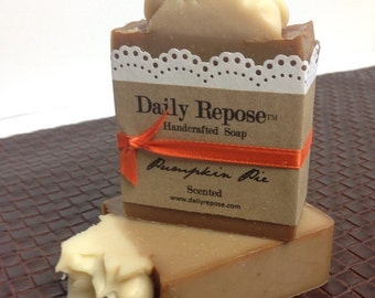 PUMPKIN PIE Christmas Soap Scented Handmade Holiday Bar Vegan Cold Process Soaps