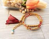Gypsy Wrap Bracelet - Gold Cross Bracelet - Adjustable Wrap Bracelet -  Stacking Bracelet - Boho Wrap Bracelet - Gift for Her