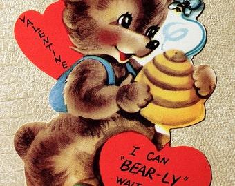 Vintage Bear with Beehive Valentine