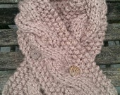 Women Cable Knit Cowl  Beige Neck Warmer with organic buttons.