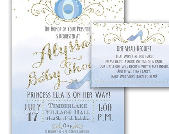 Princess Baby Shower Invitation Cinderella Baby Shower Baby Princess Book  Request Insert Princess Baby Party Cinderella