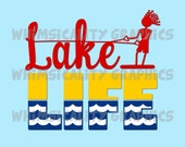 Lake Life with Skiing and Fishing with SVG, DXF, PNG Commercial & Personal Use
